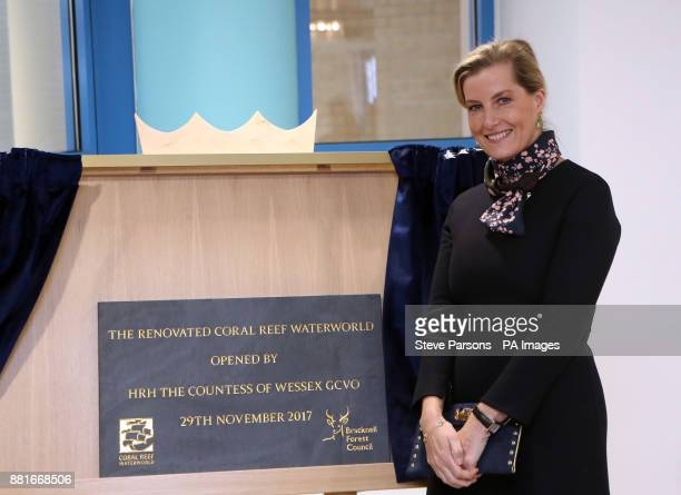 The Countess of Wessex unveils a plaque during a visit to Coral Reef Waterworld in Bracknell