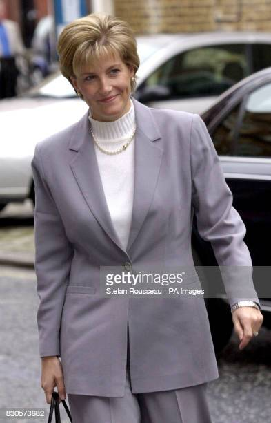 The Countess of Wessex wife of the youngest son of Queen Elizabeth II arrives at work in Mayfair London just a day after stepping down from her role...