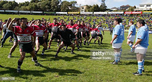 The Counties Manukau Maori team and the Ngati Porou East Coast teams face off with a haka prior to the start of the NPC rugby match between Ngati...