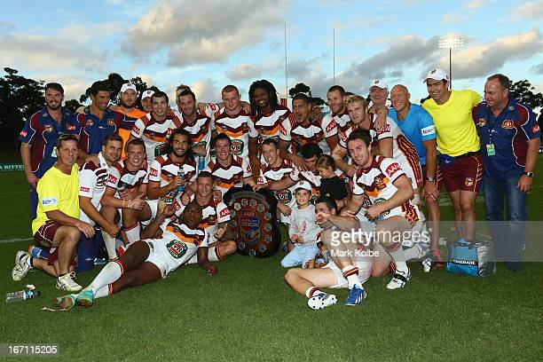 The Country team pose with the shield after victory in the Origin match between City and Country at BCU International Stadium on April 21 2013 in...