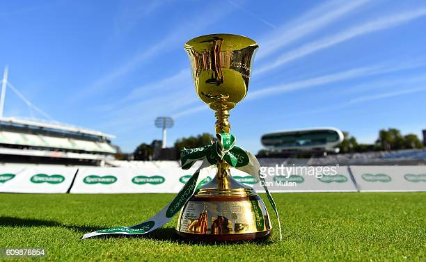 The County Championship trophy is displayed on the boundary prior to the start of play during day four of the Specsavers County Championship match...