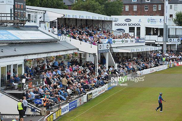 The County Ground pavilion is full for the Friends Life T20 match between Sussex Sharks and Kent Spitfires at BrightonandHoveJobscom County Ground on...
