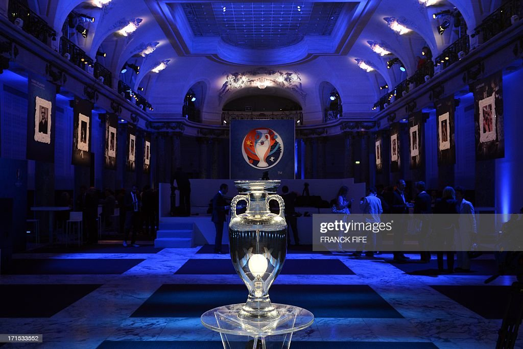 The Coupe Henri Delaunay the trophy of the UEFA European Football Championship is displayed in Paris on June 26 2013 The Euro 2016 event will feature...