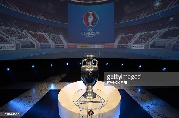 The Coupe Henri Delaunay the trophy of the UEFA European Football Championship is displayed during a press conference to unveil the Euro 2016 finals...