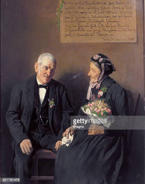 The couple Knottinger after the celebration of their Diamond wedding Painting by Friedrich Friedländer of Mahlheim Oil on wood 1890