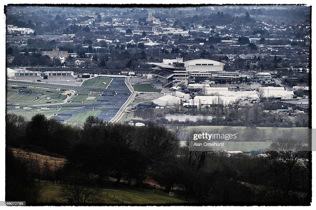 The course covered with frost prevention covers at Cheltenham racecourse on March 10, 2013 in Cheltenham, England.