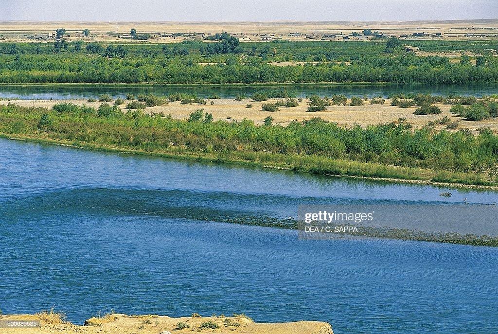 The course of the Tigris River Mosul Iraq