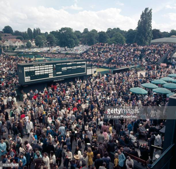 The court allocation board and forecourt of Number 2 court at Wimbledon on 26th June 1971