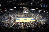 The court at Target Center is shown during the Minnesota Timberwolves game against the Utah Jazz on February 10 2006 at the Target Center in...