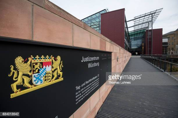 The courthouse 'Justizzentrum Wuerzburg' pictured on February 6 2017 in Wurzburg Germany The court session over the Syrian refugee Anas Modamani...