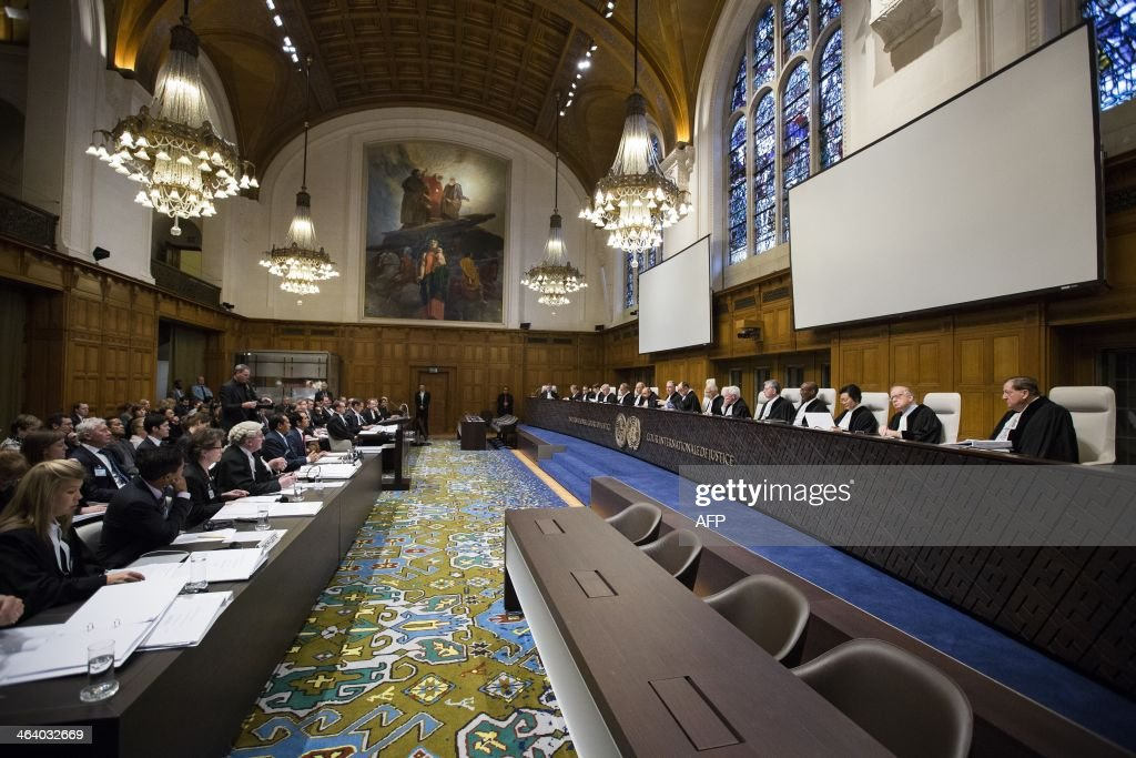 The courtroom in the Peace Palace during the trial of the International Court of Justice in the case between TimorLeste and Australia over governing...