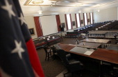 The courtroom inside the Centre County Courthouse is shown on June 17 2012 in Bellefonte Pennsylvania This week the defense will be begin its...