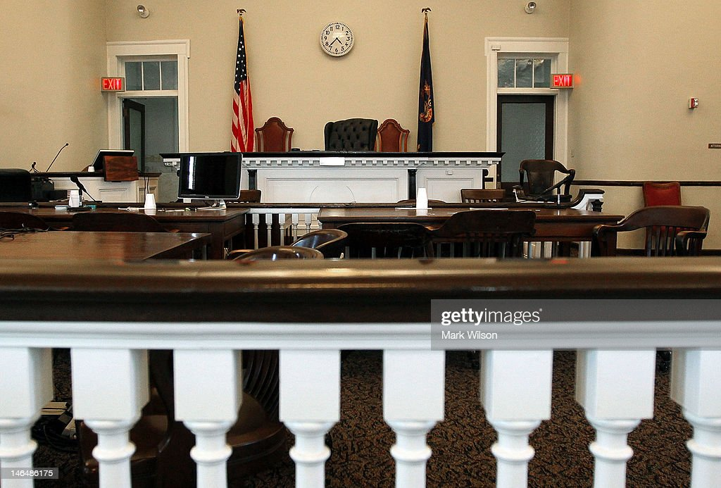 The courtroom inside the Centre County Courthouse sits empty on June 17 2012 in Bellefonte Pennsylvania This week the defense will be begin its...