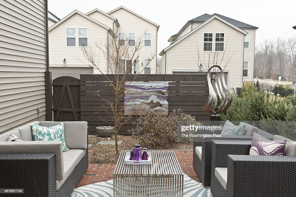 The Courtyard Patio at the Tribeca Model Home at One Loudon on January 02, 2014 in Ashburn Virginia.