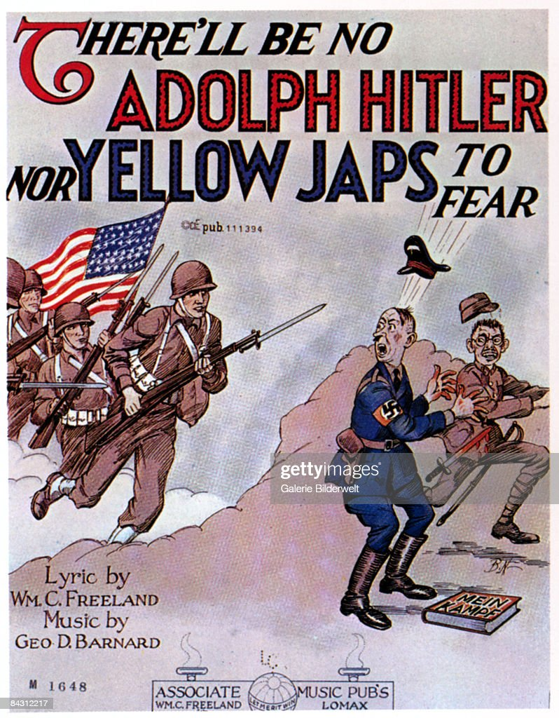 The cover for the sheet music of 'There'll be No Adolph Hitler nor Yellow Japs to Fear', music by George D. Barnard and lyrics by William C. Freeland, circa 1943. American troops catch Hitler and Emperor Hirohito by surprise.