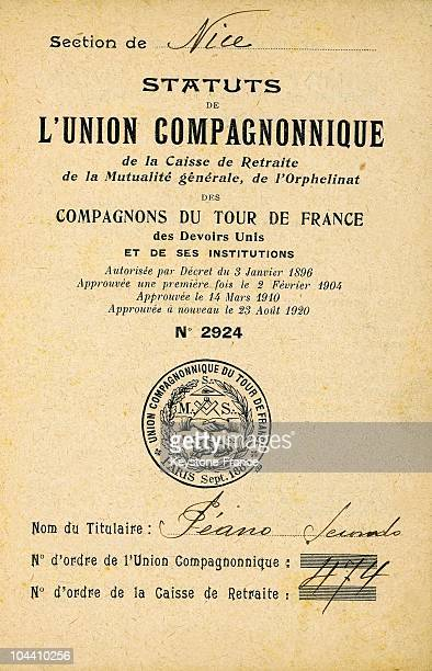 The cover of a booklet of the union compagnonnage April 14 1912
