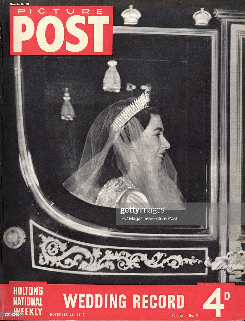 The cover of a special royal wedding edition of Picture Post magazine, showing Princess Elizabeth (later Queen Elizabeth II) arriving at Westminster Abbey in the Irish State Coach before her wedding to Prince Philip, Duke of Edinburgh, 20th November 1947. Original publication: Picture Post, pub. 29th November 1947
