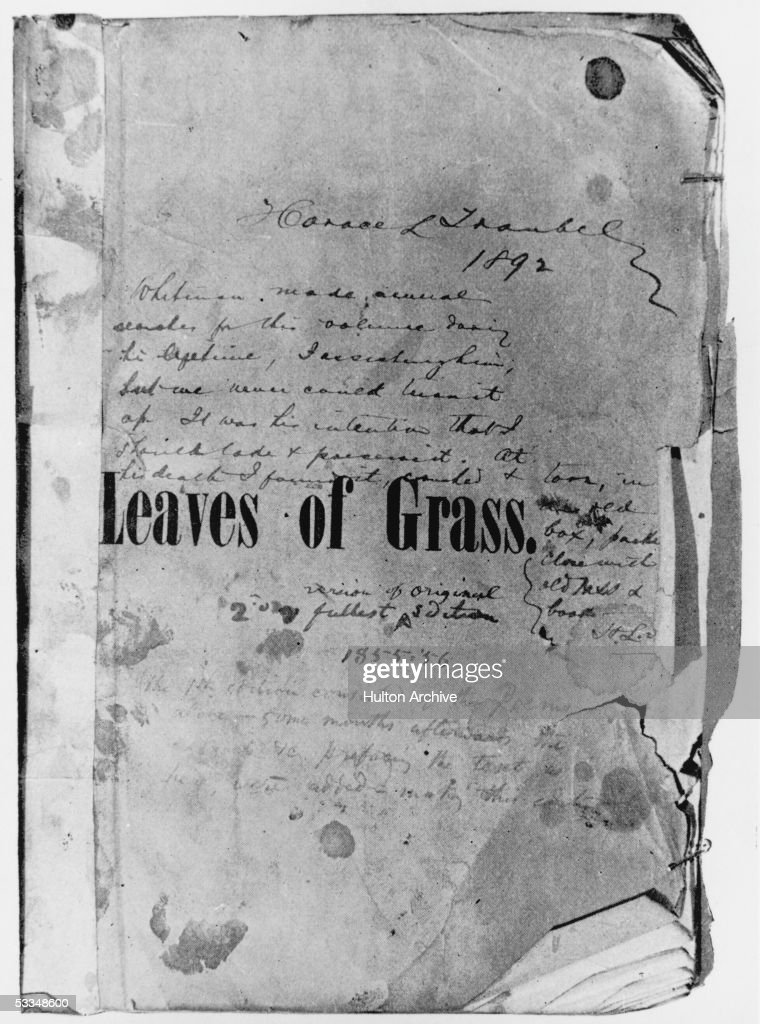 The cover of American poet Walt Whitman's own copy of the first edition of his 1855 collection, 'Leaves of Grass'.