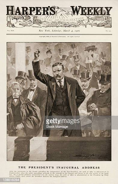 The cover of an issue of Harper's Weekly magazine features an illustration of American President Theodore Roosevelt as he delivers his Inaugural...