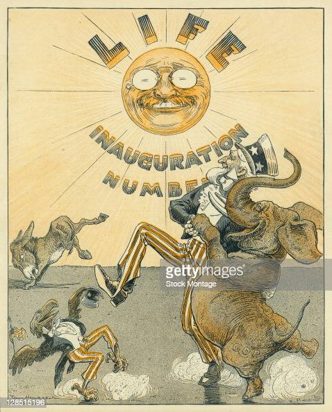 The cover of an issue of Life magazine features an illustration of American President Theodore Roosevelt seen as the sun above 'Uncle Sam' and a...