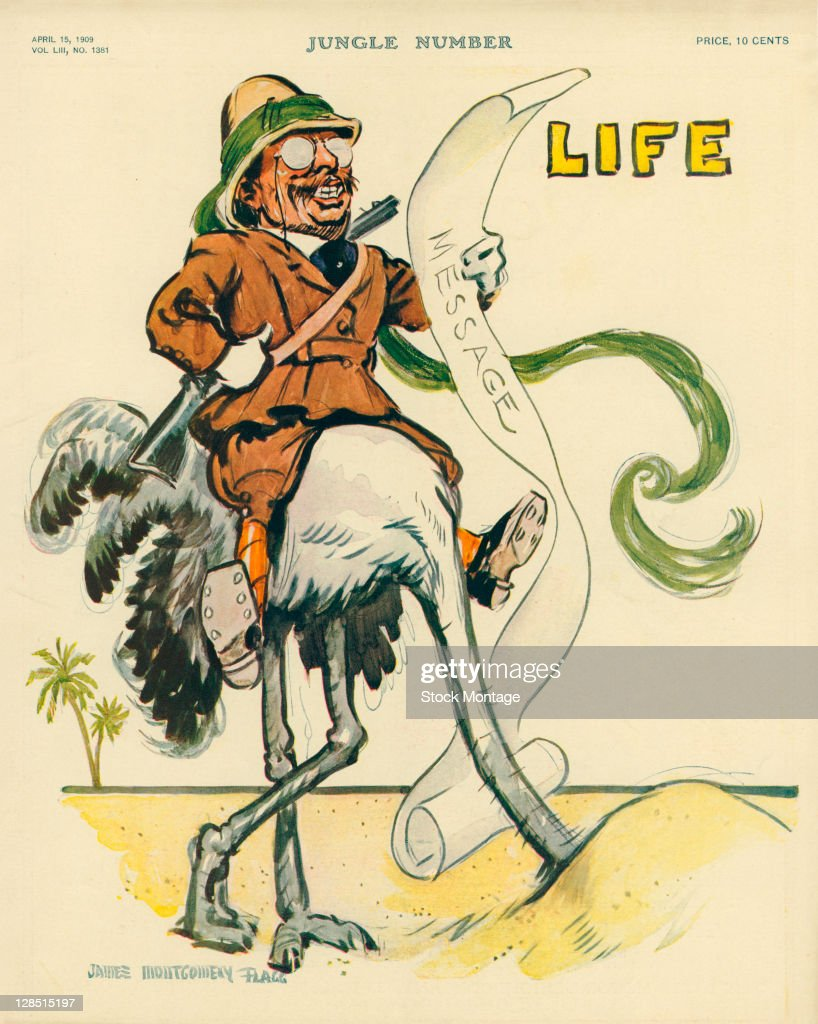 The cover of an issue of Life magazine features an illustration of American President Theodore Roosevelt as he reads a 'Message' while astride an...