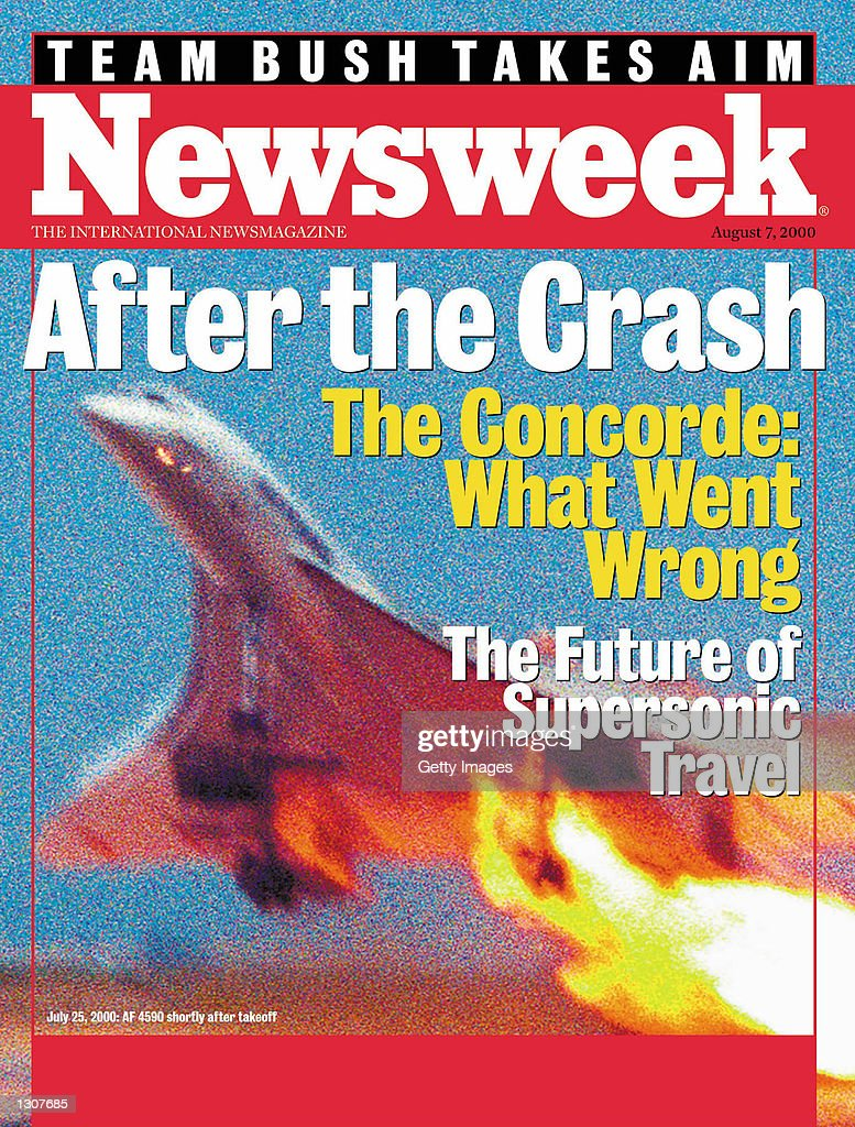 The cover of Newsweek International for the week of August 2, 2000 features an exclusive photograph of the Concorde take-off that clearly captures the fire on the inboard engine of the flight which crashed shortly after take-off June 25, 2000. Shot by a Japanese traveler, this photo shows the Concorde from an angle different from the two previously released images of the fatal flight. For the domestic issue, this photo appears as a cover inset and inside the magazine.