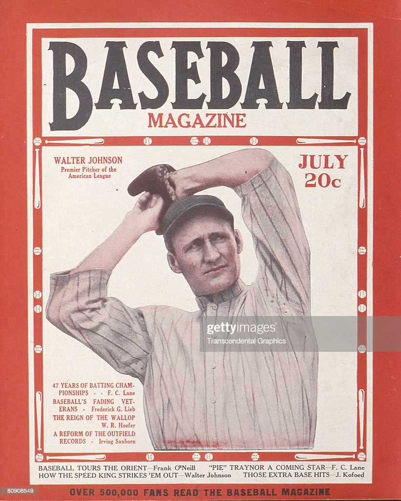The cover of the July issue of 'Baseball Magazine' shows American baseball pitcher Walter Johnson New York Johnson pitched for the Washington...