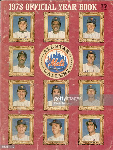 The cover of the New York Mets baseball team Yearbook features the team's logo surrounded by portraits of the team's allstars 1973
