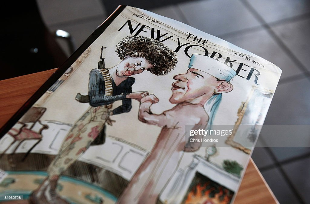 The cover of The New Yorker magazine is seen July 14, 2008 in New York City. The satirical illustration on the cover depicting Democratic presidential candidate Sen. Barack Obama (D-IL) dressed in traditional Arab garb and his wife <a gi-track='captionPersonalityLinkClicked' href=/galleries/search?phrase=Michelle+Obama&family=editorial&specificpeople=2528864 ng-click='$event.stopPropagation()'>Michelle Obama</a> dressed in military fatigues and carrying an assault rifle is generating controversy.