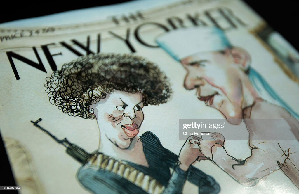 The cover of The New Yorker magazine is seen July 14, 2008 in New York City. The satirical illustration on the cover depicting Democratic presidential candidate Sen. Barack Obama (D-IL) dressed in traditional Arab garb and his wife Michelle Obama dressed in military fatigues and carrying an assault rifle is generating controversy.