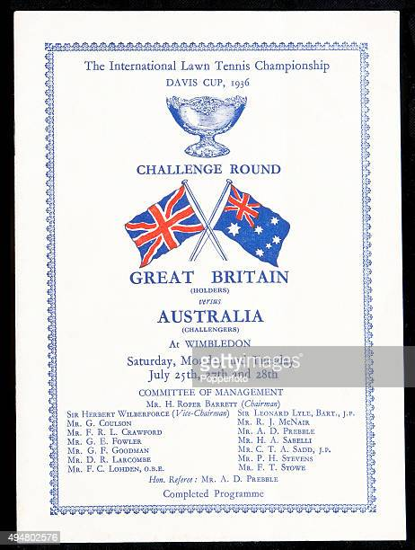 The cover of the official programme for the Davis Cup Challenge Round between Great Britain and Australia at Wimbledon on 25th July 1936
