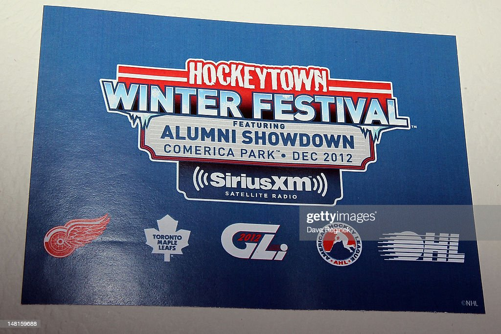 The cover of the press release given to the media during the NHL Winter Classic-Hockey Town Winter Festival press conference at Comerica Park on July 11, 2012 in Detroit, Michigan.