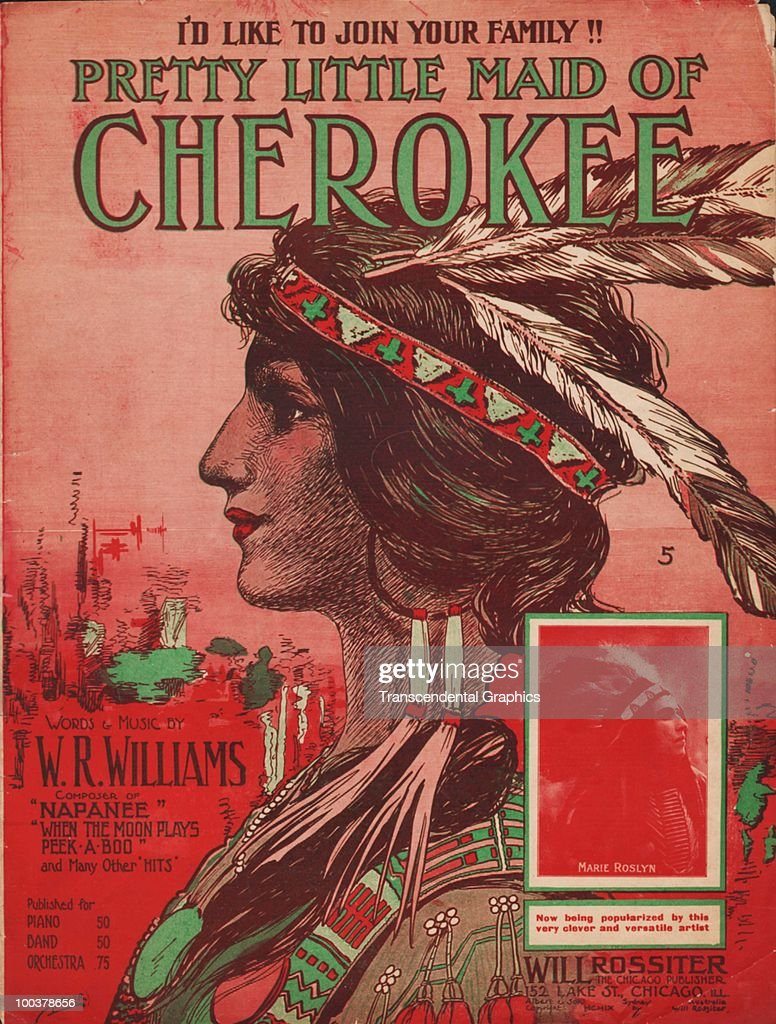 The cover of the sheet music for 'Pretty Little Maid of Cherokee' by W.R. Williams features a profile illustration of the song's titular character, as well as an inset photograph of vocalist Marie Roslyn, published by Chicago-based Will Rossiter company, 1913.