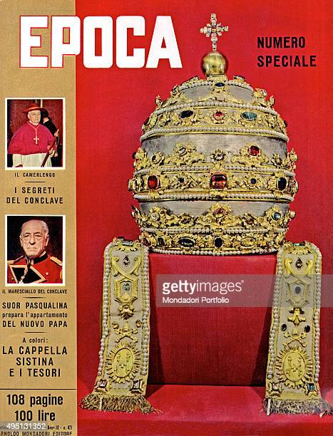 The cover of the weekly magazine Epoca with a papal miter It's a special issue dedicated to the papal conclave of 1958 Italy 1958