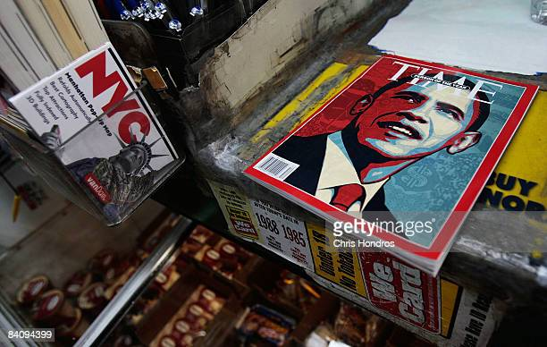 The cover of Time magazine naming Barack Obama as Person of the Year sits at a news stand December 19 2008 in New York City