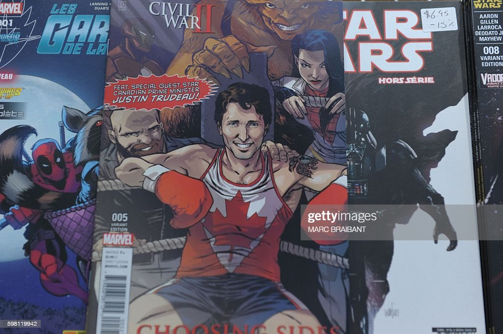 The cover of US publisher Marvel's comic book featuring Canadian Prime Minister Justin Trudeau as a super hero in front of a newstand in Montreal...