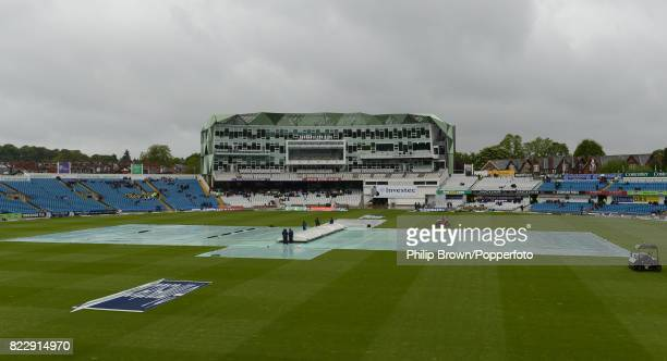 The covers are on as the rain prevents any play on day one of the 2nd Test match between England and New Zealand at Headingley Leeds 24th May 2013