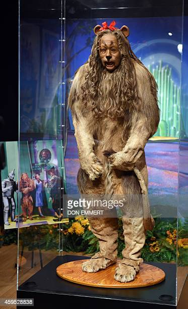 THe 'Cowardly Lion' costume from the 'Wizard of Oz' that was worn by actor Bert Lahr is on display at Bonham's November 24 2014 in New York The...