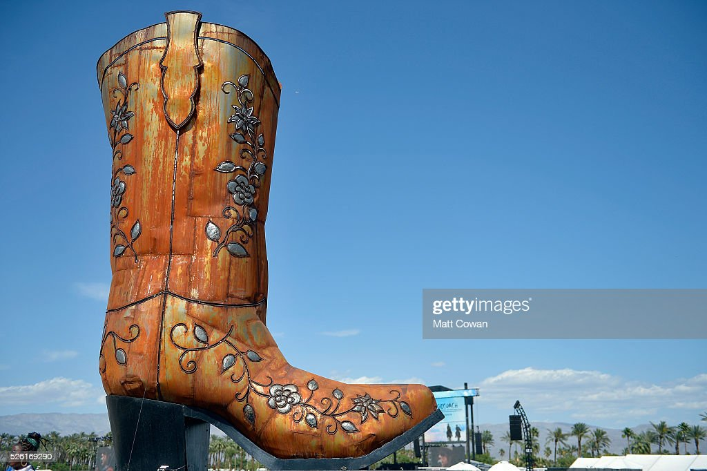 The cowboy boot art installation is seen during 2016 Stagecoach California's Country Music Festival at Empire Polo Club on April 29, 2016 in Indio, California.