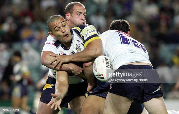 The Cowboys' Paul Rauhihi is caught during the NRL rugby league match between the North Queensland Cowboys and Melbourne Storm 17 September 2005 SMH...