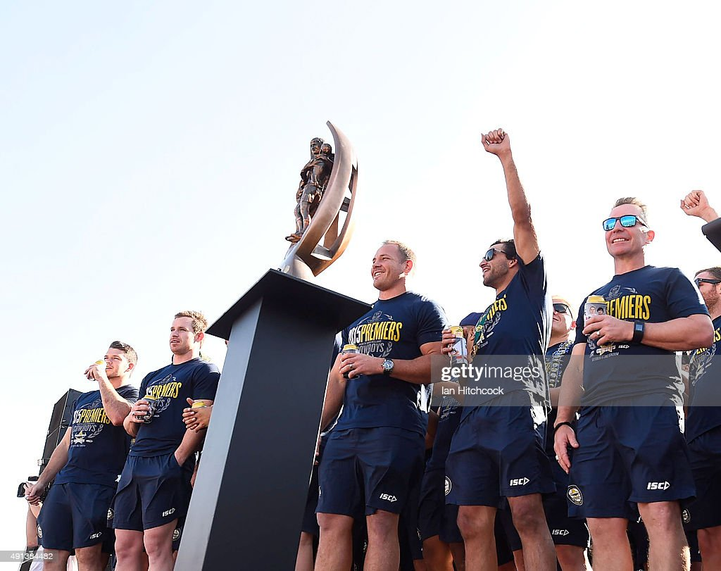 The Cowboys players stand on stage during the North Queensland Cowboys NRL Grand Final fan day at 1300 Smiles Stadium on October 5, 2015 in Townsville, Australia.