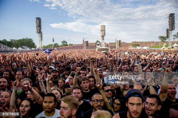 The cowds on day 9 of the 50th Festival D'ete De Quebec headlined by Metallica on the Main Stage at the Plaines D' Abraham on July 14 2017 in Quebec...