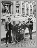 The Cowsills sing in front of a Roman fountain during a trip to Italy to perform at the San Remo Song Festival LR Paul Barry Susan Barbara John Bob