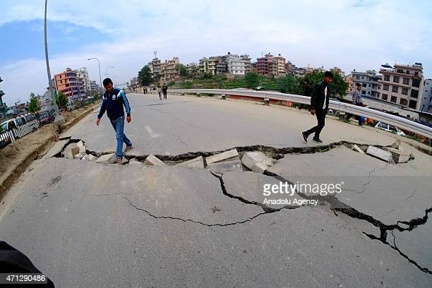 The cracks on the roads after a powerful earthquake hits Katmandu Nepal on April 26 2015 The death toll in Nepal climbed towards 2500 on Sunday as...