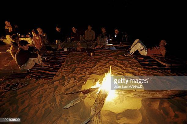 The crater Koboue in Chad in November 2005 Tourist camp at night