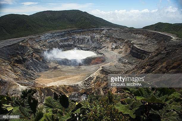 The crater of the Poas volcano at the Poas Volcano National Park 50km from San Jose on July 4 2014 Costa Rica hopes to capitalize for its touristic...