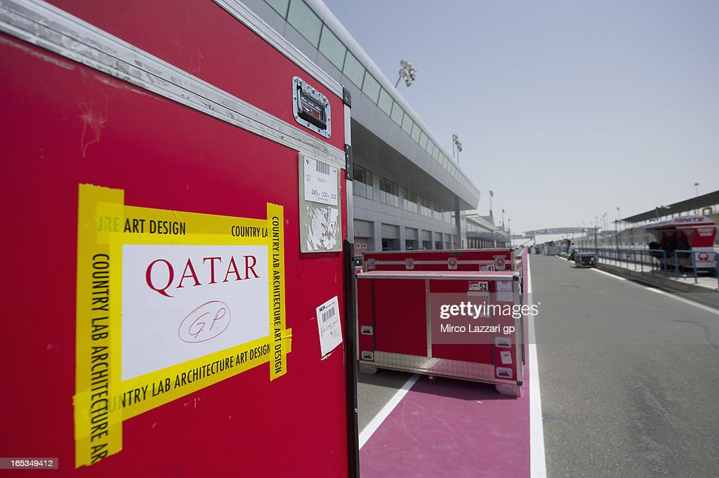 The crates parking in pit during MotoGp of Qatar at Losail Circuit on April 3, 2013 in Doha, Qatar.
