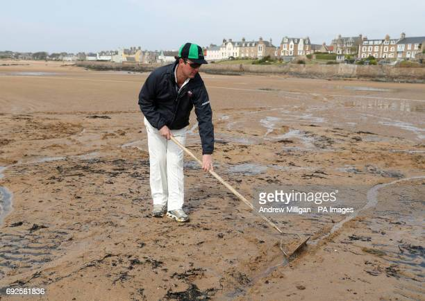 The crease is prepared ahead of the beach cricket match in Elie between the Ship Inn cricket team in Elie Fife and Eccentric Flamingos CC The Ship...