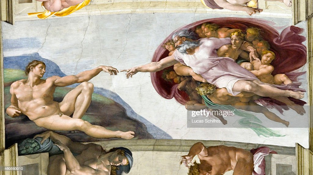 The Creation of Adam by Michelangelo is painted on the ceiling of the Sistine Chapel in the Vatican Museums on August 4 in Rome Italy Vatican City a...