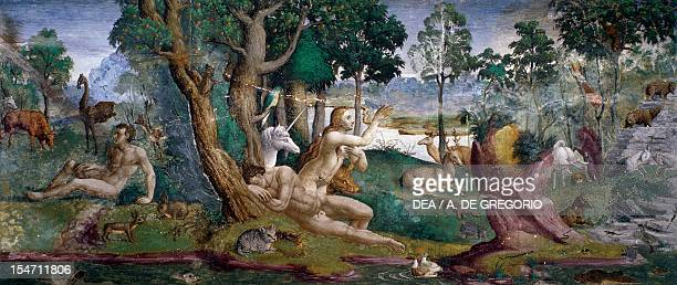 The creation of Eve fresco by an unknown 16th century artist Hall of Creation Palazzo Besta Teglio Italy 15th century